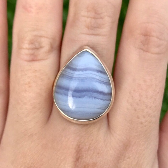 Blue lace agate and sterling silver stone ring